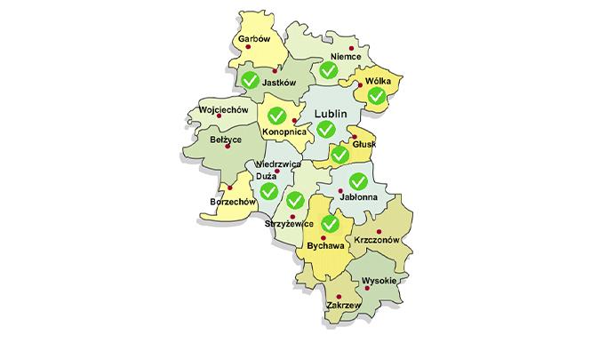 Mapa województwa lubelskiego